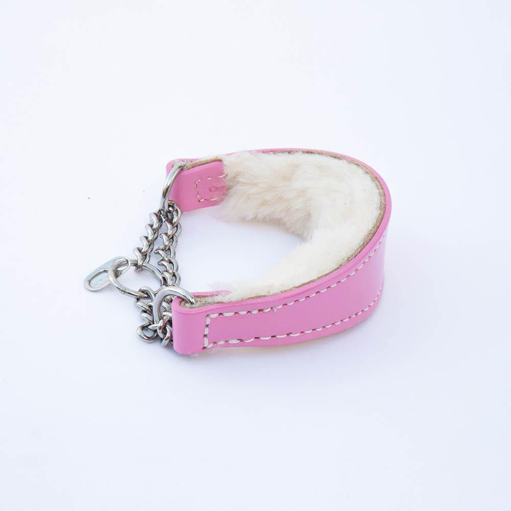Medium Pink Leather Wool-lined Martingale Collar for Whippets & Large Italian Greyhounds - IGGY DOGWEAR