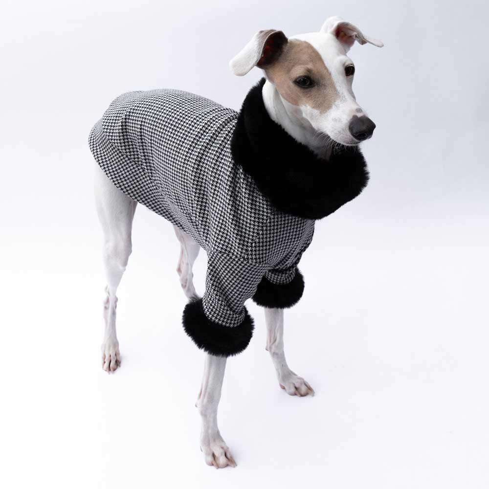 Luxe Fur Sweater in Black Houndstooth