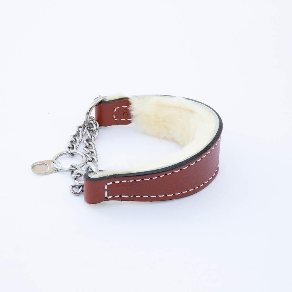 Italian Greyhound Tan Leather Wool-lined Martingale Collar