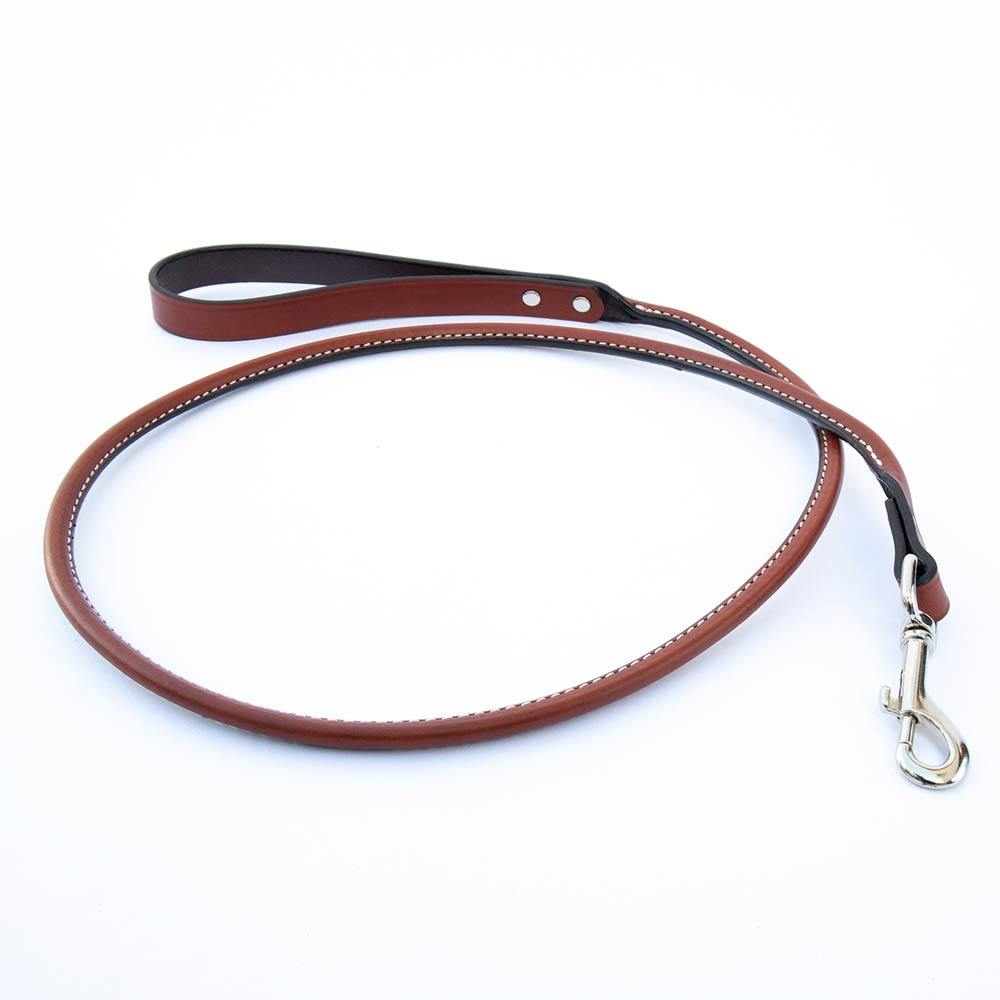 Tan Rolled Leather Italian Greyhound Lead - IGGY DOGWEAR