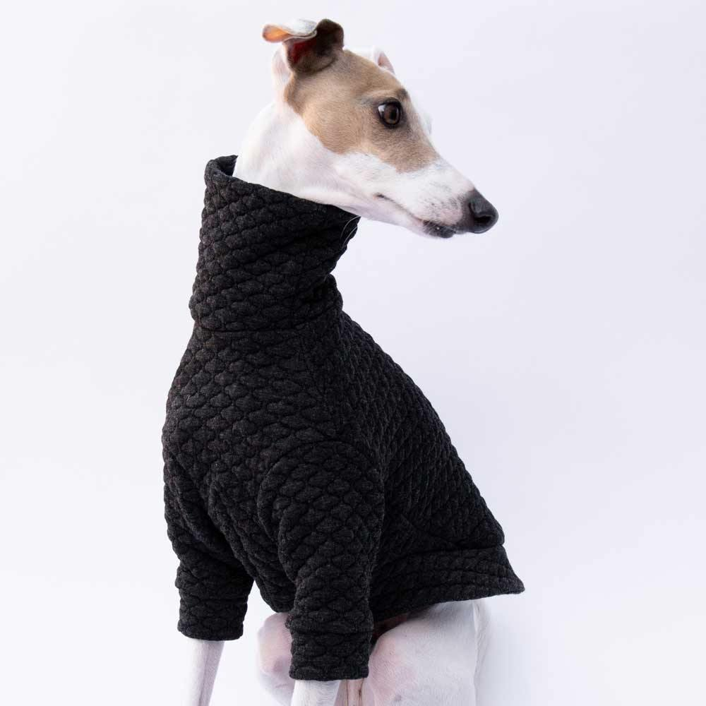 Turtleneck Sweater in Charcoal Quilt - IGGY DOGWEAR