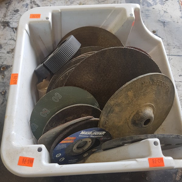 White Container Of Various Wheel Sanding And Grinding Discs - Coast Machinery Group Inc