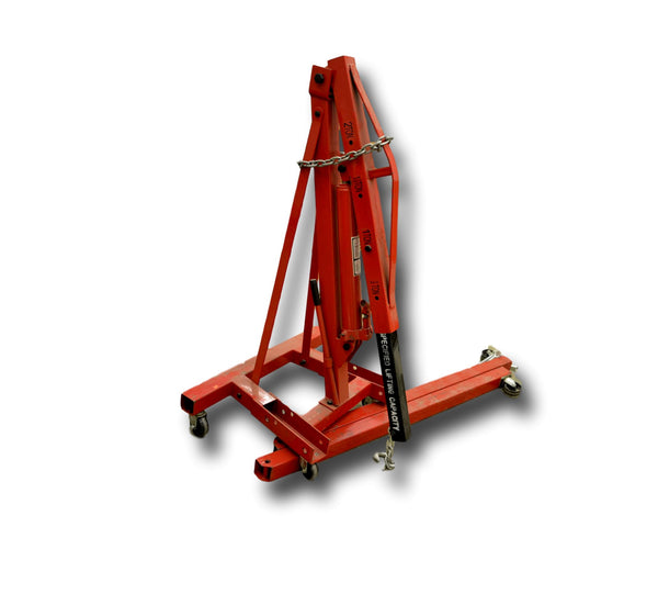 2 Ton Hydraulic Folding Engine Crane Stand Hoist lift Jack With Wheels - Coast Machinery Group Inc
