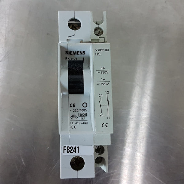 Siemens 5SX21 C6 Circuit Breaker + 5SX9100 HS Auxiliary Contact Block - Coast Machinery Group Inc
