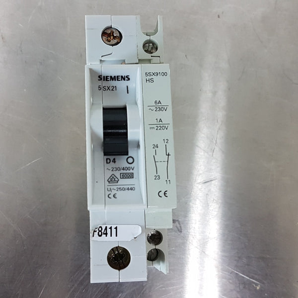 Siemens 5SX21 D4 Circuit Breaker +  5SX9100 HS Auxiliary Contact Block - Coast Machinery Group Inc