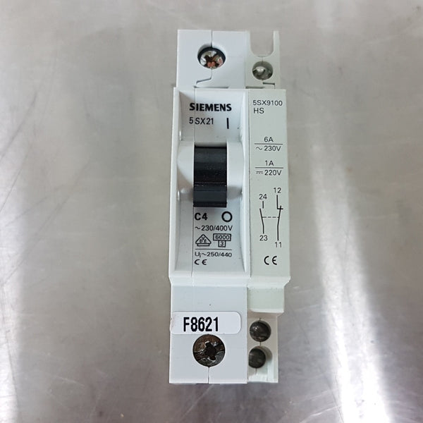 Siemens 5SX21 C4 Circuit Breaker + 5SX9100 HS Auxiliary Contact Block - Coast Machinery Group Inc
