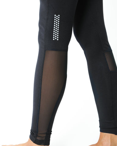 Energique Athletic Leggings With Reflective Strips and Mesh Panels