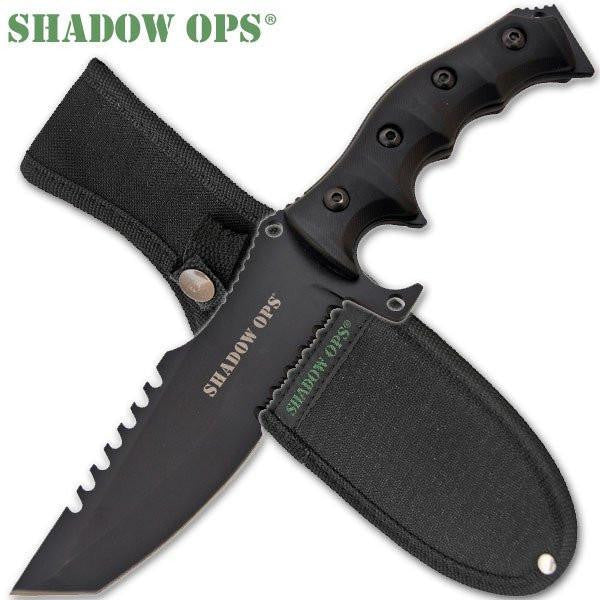 11 inch Shadow Ops Military Combat Knife (All Black) - Knockout Knucks