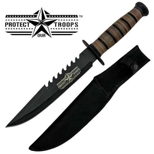 Protect Our Troops Military Knife W/ Free Hard Sheath