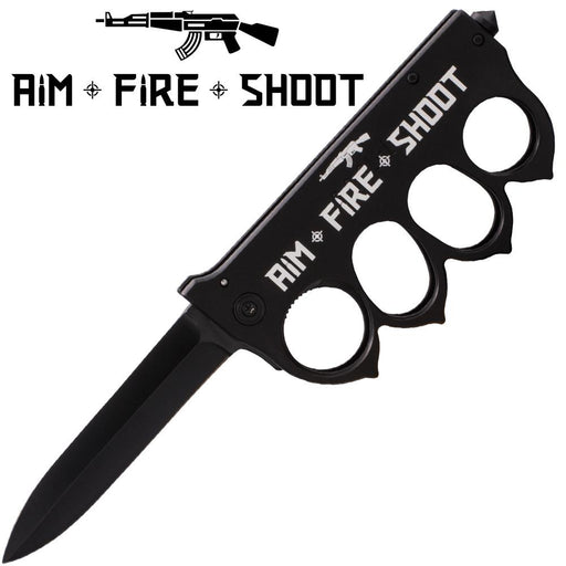Aim Fire Shoot Brass Buckle Trigger Action Folder - Knockout Knucks