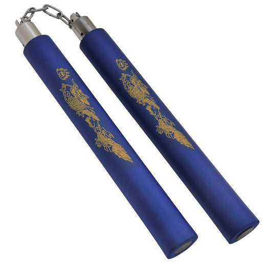 Foam Practice Nunchucks (Blue) - Dragon Design W/ Chain - Knockout Knucks