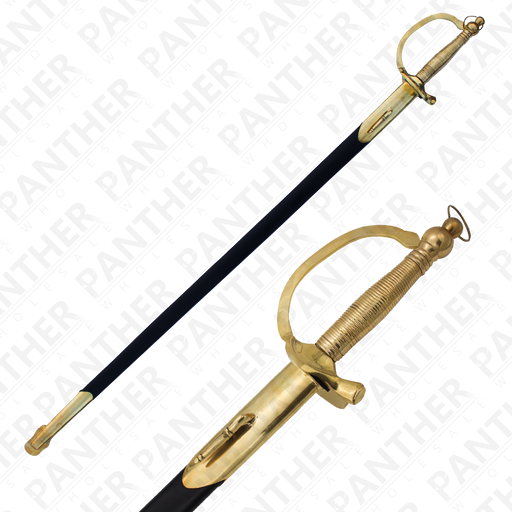 Civil War Sabre With Genuine Leather and Real Brass Scabbard - Knockout Knucks