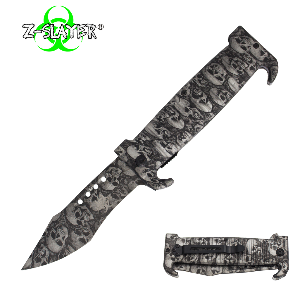 9 Inch Trigger ActionZ-Slayer Death Curve Knife - Silver - Knockout Knucks