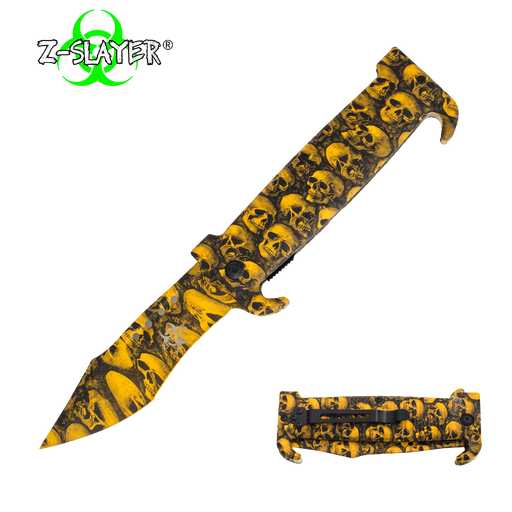 9 Inch Trigger ActionZ-Slayer Death Curve Knife - Yellow - Knockout Knucks