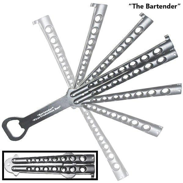 """The Bartender"" Bottle Opener Butterfly Folding Bottle Opener - Silver - Knockout Knucks"