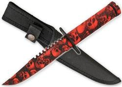 Cart2Cart - Zombie Survival Knife W/ Skull Heads - Blood Red