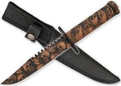 Cart2Cart - Zombie Survival Knife W/ Skull Heads - Brown