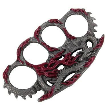 Draconic Protection Brass Knuckles (Red)-Knockout Knucks