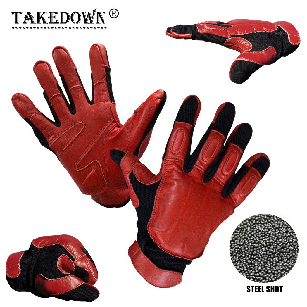 Law Enforcement Red & Black Real Leather Sap Gloves - XXL - Knockout Knucks