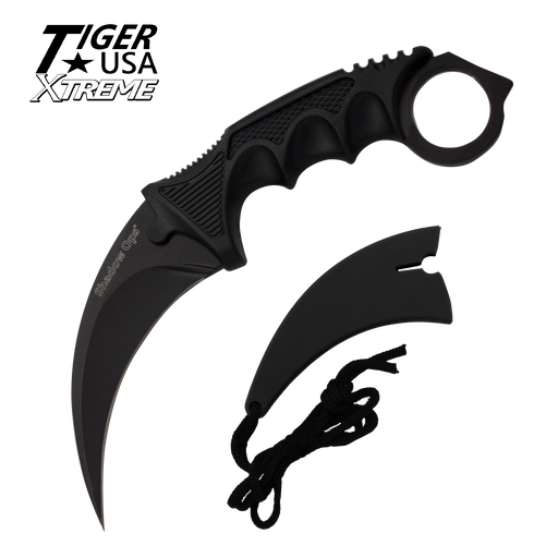 Karambit Ranger-Black Fixed Blade Neck Knife with Sheath - Knockout Knucks