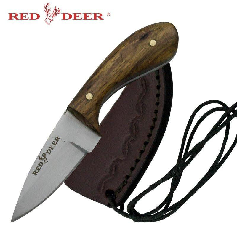 Red Deer Washington Patch Knife with Sun Design Leather Sheath - Knockout Knucks