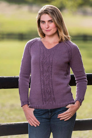 Top-Down Cable and Diamond Pullover #189