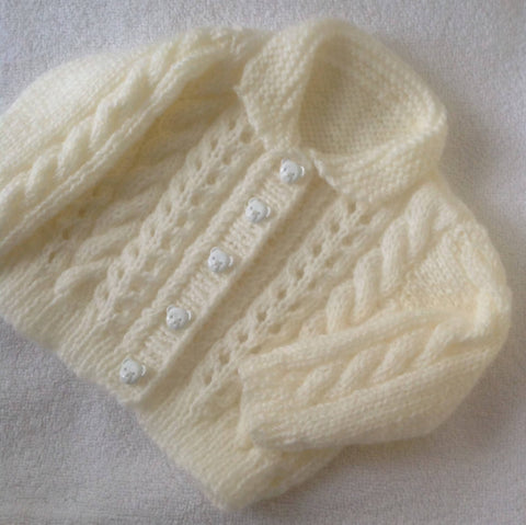 Cable and Lace Baby Cardigan