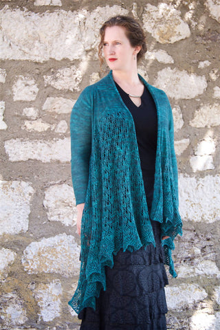 Pavonis beaded lace waterfall cardigan