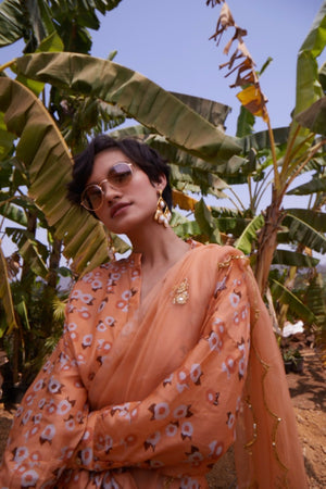 Load image into Gallery viewer, Peach Organza Saree with Shirt Blouse
