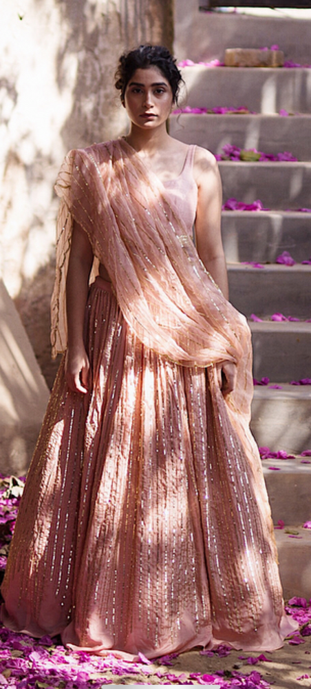 Load image into Gallery viewer, MAUVE LINE LEHENGA SET
