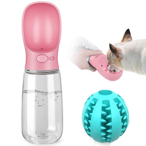 Pink Portable Dog Water Bottle + Chew Bite Ball