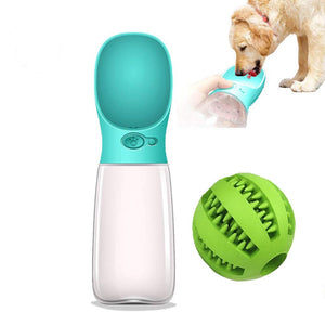 Blue Portable Dog Water Bottle + Chew Bite Ball