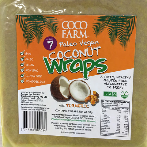 Coconut Wraps - 7 pack TURMERIC