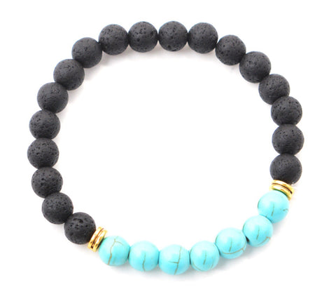 Blue stone Lava essential oil bracelet with natural sea stone