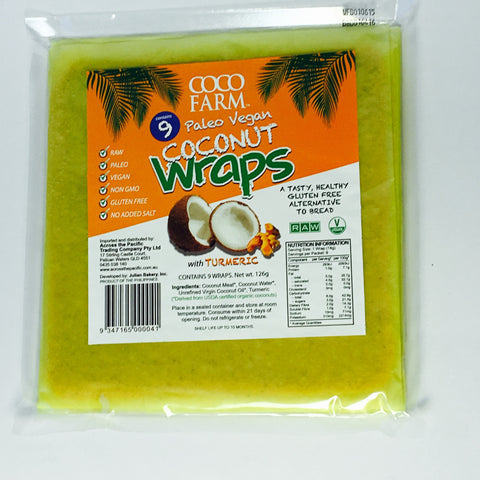 Coconut Wraps - 9 pack TURMERIC