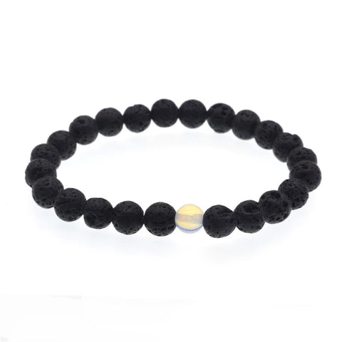 Lava stone essential oil bracelet with natural sea stone