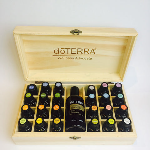 Wooden doTERRA branded essential oil storage box