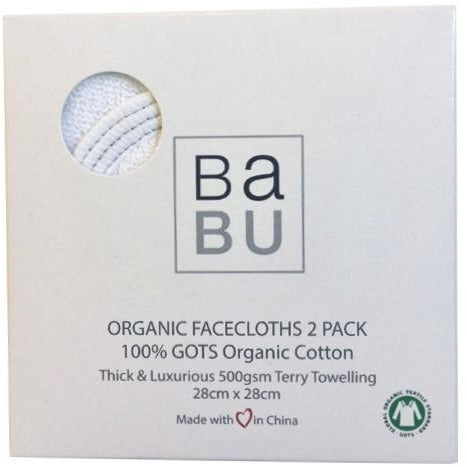 Box set of 2 organic cotton facecloths
