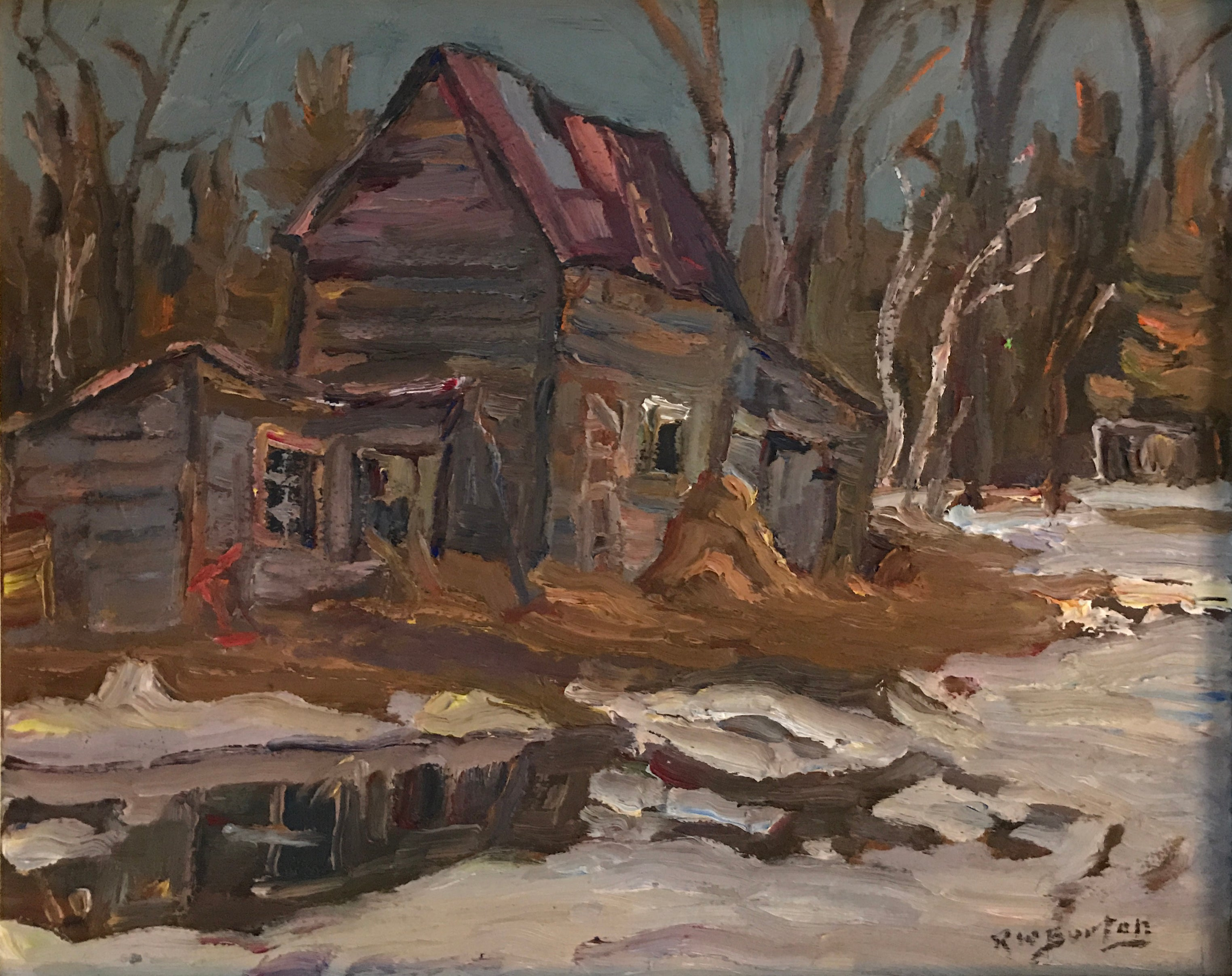 "R. W. Burton ""Old Barn, Kingdom Mines, Ont."""