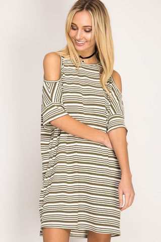 Lexi Cold Shoulder Dress, Taupe