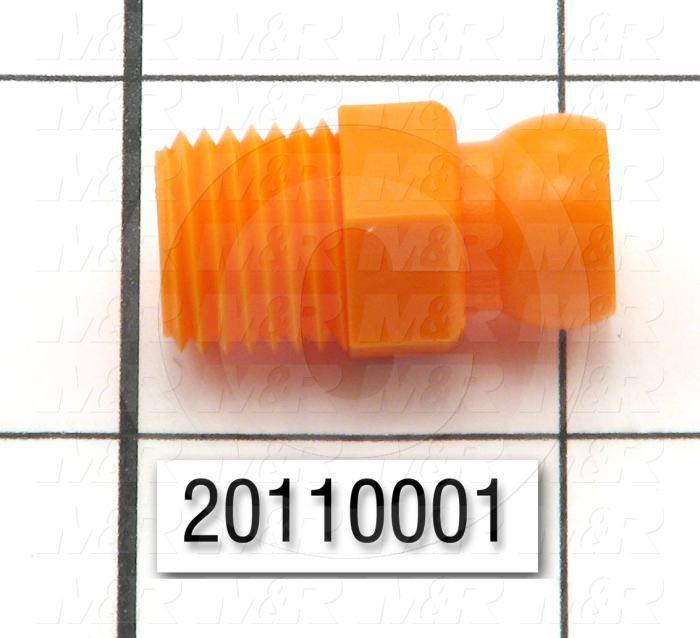 "Pipe Fittings & Connectors, Straight Type, Orange , A x B 1/4"" NPT x 1/4"" ID"
