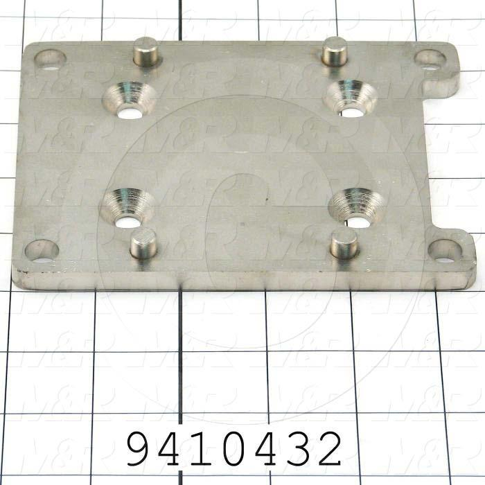 Fabricated Parts, Cyl. Plate Weld-Front R, 5.50 in. Length, 4.25 in. Width, 0.57 in. Height, Nickel Plated Finish