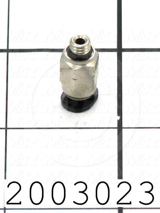 "Fitting, 10-32 NPT Port Size, Single Mounting Type, W/O Seal, 5/32"" Tube OD, Straight"