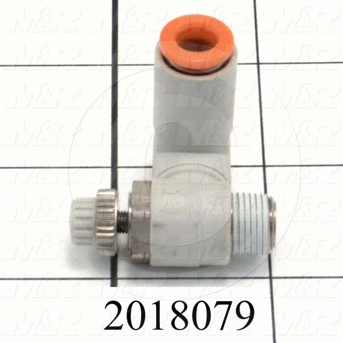 "Flow Control, Speed Controller Type, 1/8"" NPT Port In, 1/4"" OD Port Out, Meter Out Control Type, 460 l/min Flow Rate, W/Seal Option"