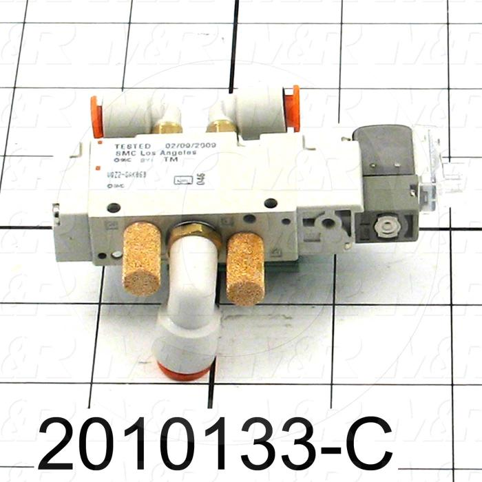 Valves, Electro Mechanical Type, 2 Position / 5 Way Operation, Single Coil, 24 VDC Coil Voltage, 2 Stations, With Built-in Fittings, 0.7 MPa Max. Pressure