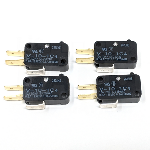 Microswitch 100gf - 0.250in (Omron V-10-1C4) - 4 Pack