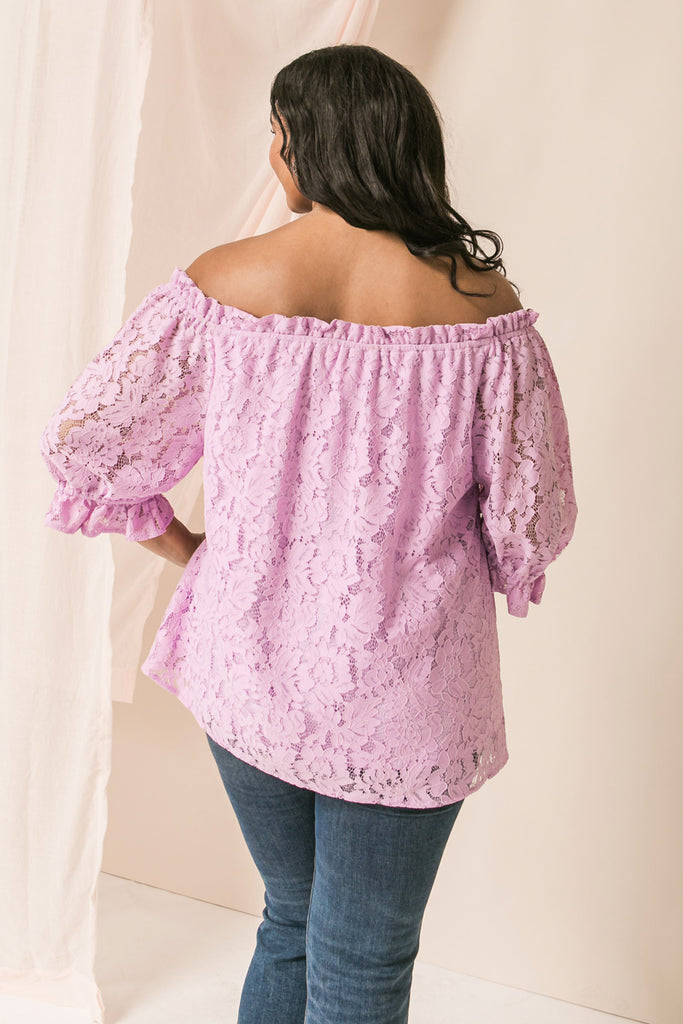 MAKE A TOAST LAVENDER LACE TOP