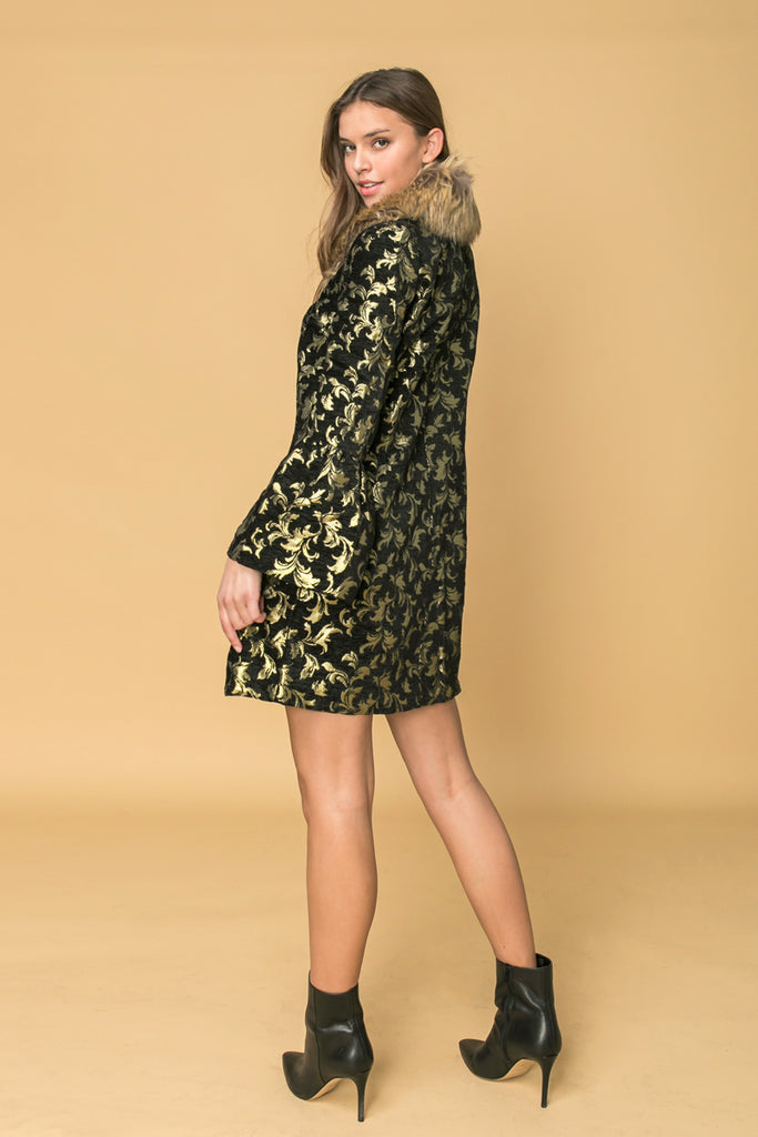 JACQUARD COAT WITH FUR