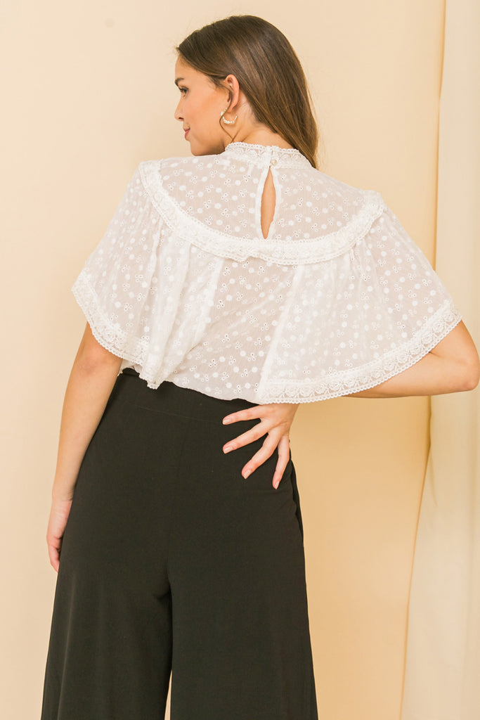 NO SUCH THING EYELET TOP