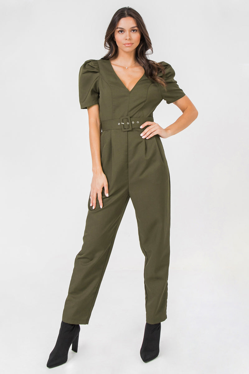 PUFF SLEEVE CROPPED JUMPSUIT